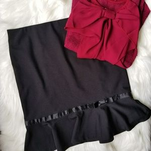 EXPRESS black skirt with ruffle and satin bow